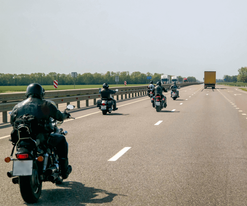 A group of bikers on the motorway