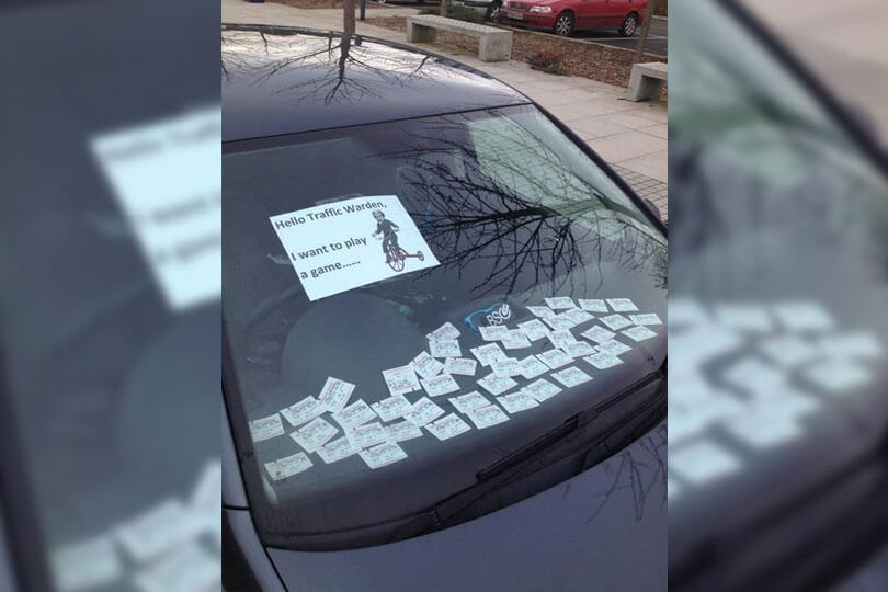 parking tickets on dashboard