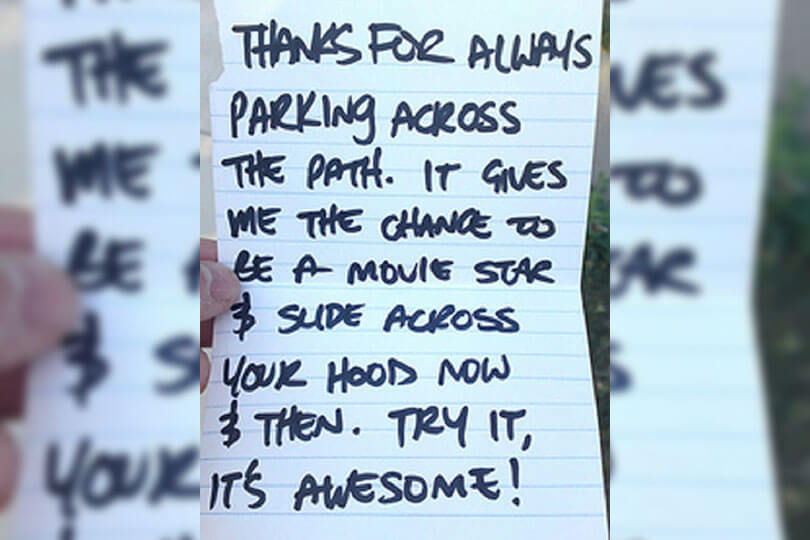 note left on car