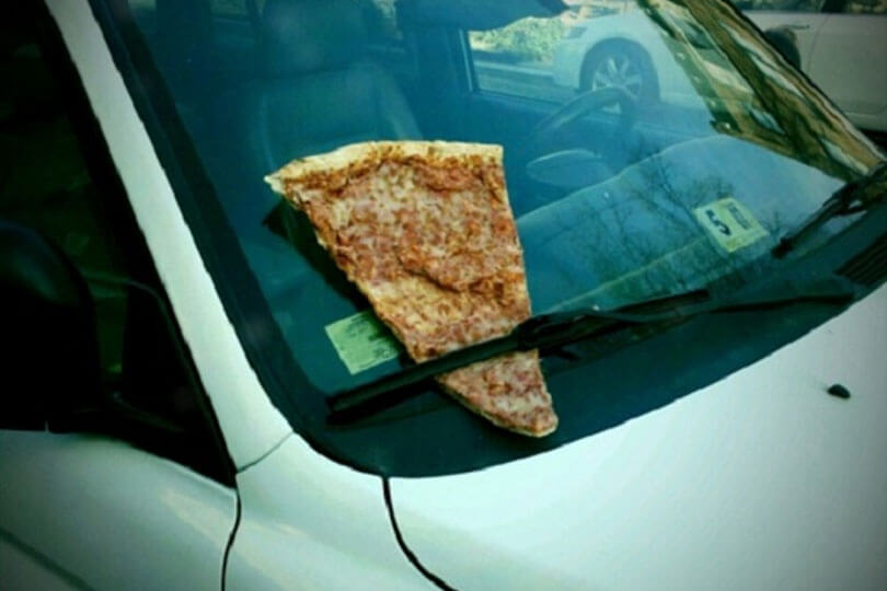 Pizza on a car