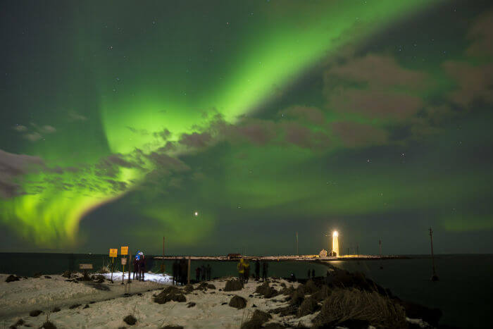 The Northern Lights lighting up Reykjavik