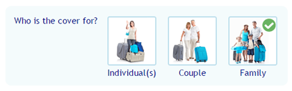 Travel insurance cover options selection