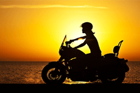 Motorbike and sunset