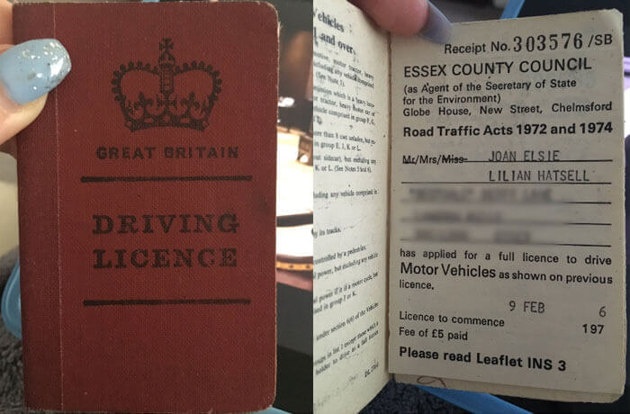 Old Great Britain driving licence