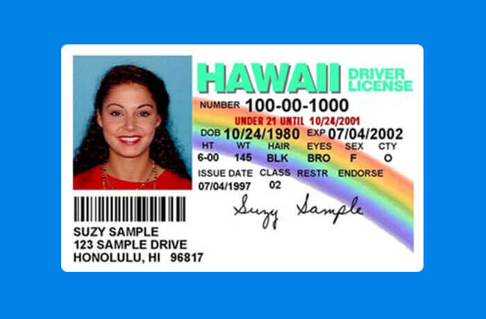 Hawaii driving licence