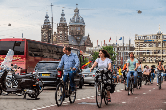 Riding bikes in Amsterdam