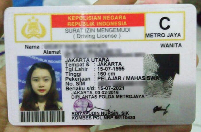 Indonesia driving licence
