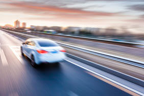 Moving car on motorway