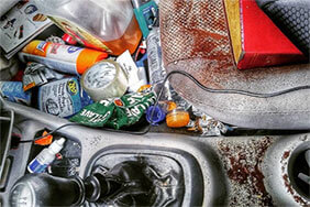 Interior of a messy car