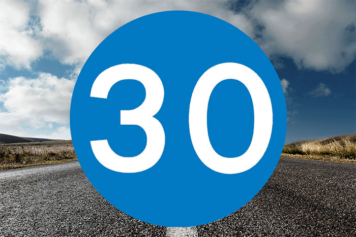 Minimum 30 mph zone - blue sign