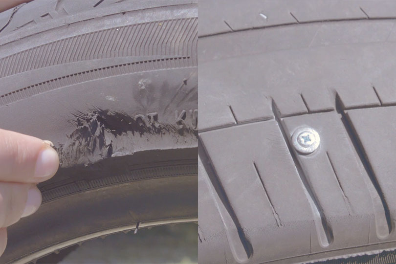 Tire Pressure On A Car, Cut Tyre And Nails, Tire Pressure On A Car