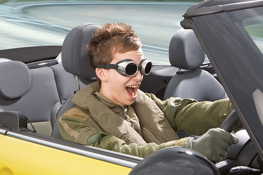 Young boy racer with goggles
