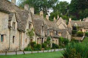 A beautiful row of cottages in the Cotswolds