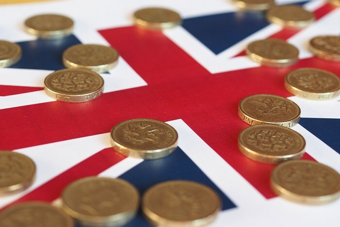 Union Jack with pound coins on it