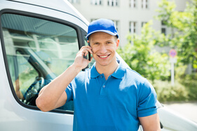 Man with van on the phone