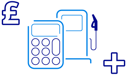 Blue icons of a calculator and a fuel pump